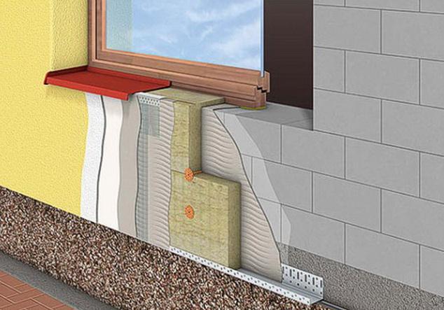 схема утепления дома из газобетона